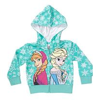 Disney Frozen Snowflakes Sisters Girls Mint Green Zip-Up