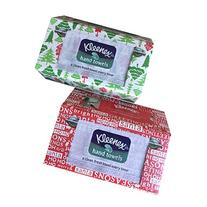 Kleenex Disposable Hand Towels, White, 55 ct, Holiday Design