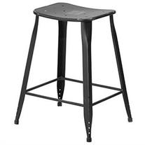 "Flash Furniture 24"" High Distressed Black Metal Indoor-"
