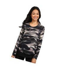 DKNYC - Marbled Ink Crinkle Sheer Double Layer Blouse  Women