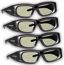 DLP LINK 144 Hz Ultra-Clear HD 4 PACK 3D Active Rechargeable Shutter Glasses for All 3D DLP Projectors - BenQ, Optoma, Dell, Mitsubishi, Samsung, Acer