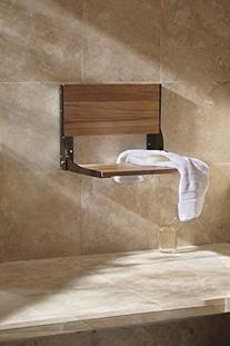 Moen DN7110OWB Teak Folding Shower Seat, Old World Bronze