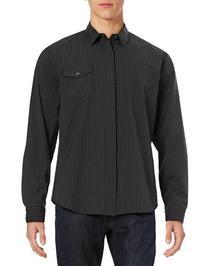 Dkny Jeans Dobby Striped Sport Shirt-BLACK-Medium