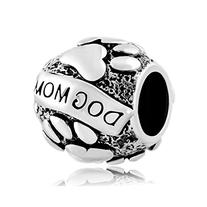 LovelyJewelry Dog Mom on Puppy Animal Paws Charm Beads For
