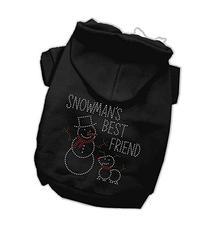 Dog Supplies Snowmans Best Friend Rhinestone Hoodie Black L