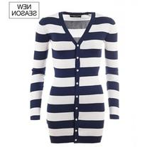 Dolce & Gabbana Dark blue & white silk long striped cardigan