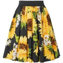 Dolce & Gabbana Printed cotton-poplin skirt