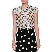 Dolce & Gabbana Ruffled Large-Dot Silk Blouse
