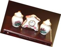 Dollhouse Miniature Mantle Clock and 2 Vases