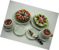 Dolls House Miniature Food Mixed Cake Ceramic Plate Dish