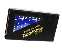 Dominoes Jumbo BLUE with White Pips _ Double Six Set of 28