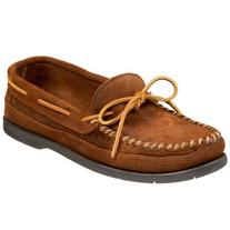 Minnetonka Men's Double Bottom Slip-On,Brown,10.5 M US