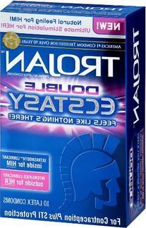 Trojan Double Ecstasy Lubricated Condoms, 10 Count