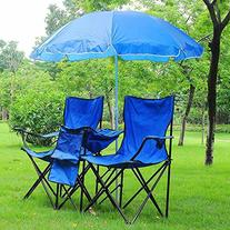 Double Folding Chair w Umbrella Table Cooler Fold Up Picnic