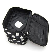 BONAMART Double Layer Cosmetic Bag Black with White Dot