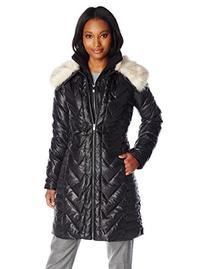 Via Spiga Women's Down Coat with Faux Fur Collar, Black/