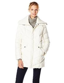Cole Haan Women's Down Coat with Knit Collar, Ivory, Large