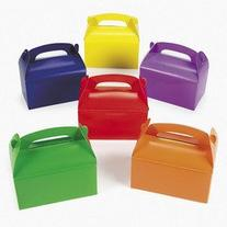 "Bright Color Treat Boxes  6 1/4"" x 3 1/2"" x 6"". Cardboard"