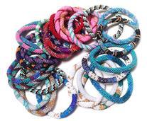 WigsPedia Dozen Handmade Nepal glass beaded bracelets Roll