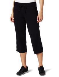Danskin Women's Drawcord Crop Pant, Black, 2X