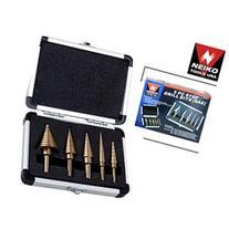 Neiko 5-Piece Step Drill Bit Set with Metal Case - SAE