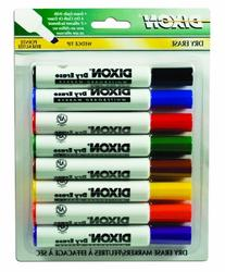 Dixon Dry Erase Markers, Wedge Tip, Pack of 8 Assorted