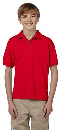 Gildan DryBlend Youth 5.6 oz., 50/50 Jersey Polo, Large, RED