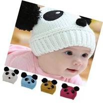 Baby Dual Ball Panda Hat Wool Knitted Crochet Beanie Cap