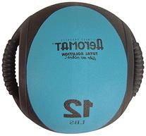Dual Grip Fitness Power Medicine Ball - 12 lb. Black/Teal