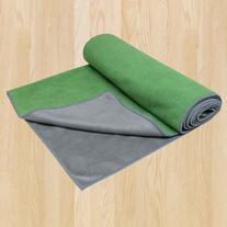 Gaiam Dual-Grip Yoga Mat Towel, Green Vine/Charcoal