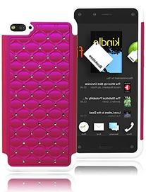 Bastex Durable Heavy Duty Pink Bling Design Cover with White
