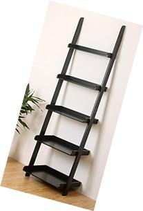 "eHemco 5 Tier Leaning Wall Book Shelf in Black 21-5/8""W X 70"