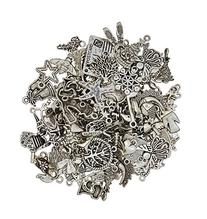 eCrafty EC-5655 100-Piece Silver Pewter Charms Pendants Mega