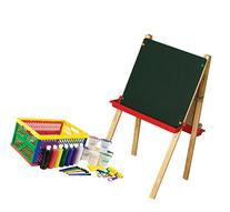 ECR4Kids Adjustable Easel and Small Paint Crate Set