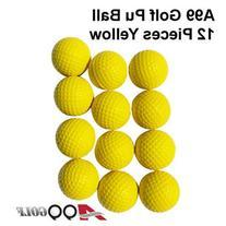 A99 Golf Elastic Practice Pu Balls Yellow 12 Pcs - Free