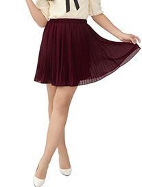 Allegra K Women Elastic Waist Chiffon Pleated Skirt Sheer