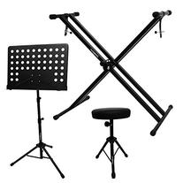 ChromaCast Electronic Keyboard Stand, Padded Seat and Music
