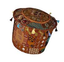 Elegant Designer Patchwork Embroidered Cotton Footstool