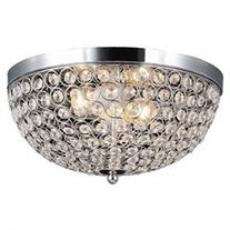 Elegant Designs 2 Light Flush Mount, Chrome, Traditional,