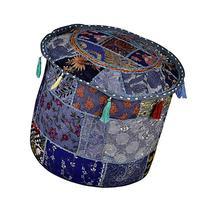 Elegant Embroidered Work Cotton Round Floor Ottoman Cover 18