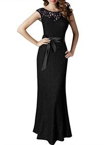Miusol Women's Elegant Sleeveless Halter Black Lace