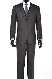 Elegant Charcoal Grey Two Button Three Piece Suit