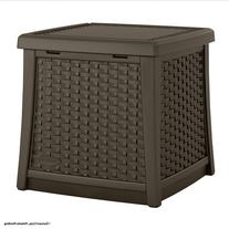 Suncast Elements Resin Patio Storage Side Table, Java