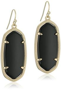 "Kendra Scott ""Signature"" Elle Gold plated Black Glass Drop"