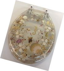 Elongated Clear Seashell and Seahorse Resin Toilet Seat,