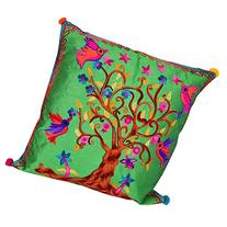 40cm Embroidered Cushion with Tree Of Life, Bright Colours,