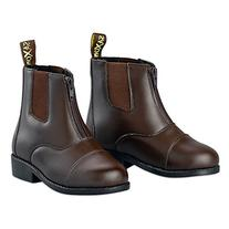 Saxon Girls Equileather Zip Front Boots, Brown, Child Size 5