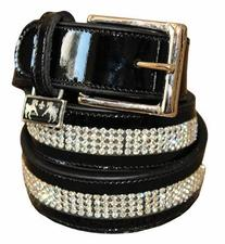 Equine Couture Bling Patent Leather Belt 30 Black