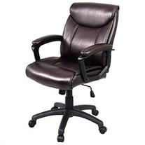 Costway Ergonomic PU Leather Mid-Back Executive Computer