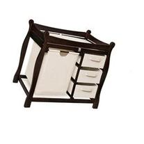 Espresso Sleigh Style Changing Table with Hamper and 3